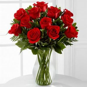 20 Red Roses with Vase