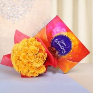 20 yellow rose with celebration pack