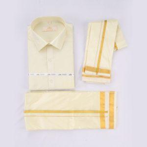 Vivaha Men's Art Silk Dhoti,Shirt and Angavastram