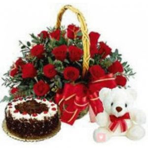 Basket of 25 Roses, 1 kg Cake With Soft Toy