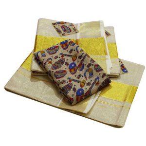 Kerala cotton set mundu with drum and veena design