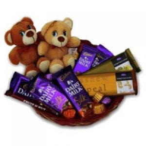 Assorted chocolate basket with teddy