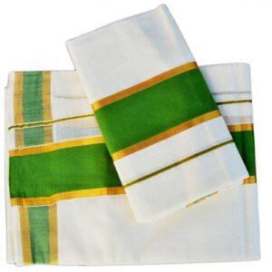 Single Set Mundu with Green Border