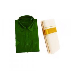 Dark Green Cotton Shirt & Golden or Silver Kasavu Mund