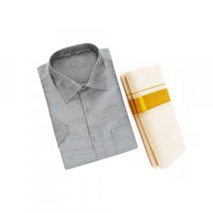 Grey Silk Shirt & Golden or Silver Kasavu Mund