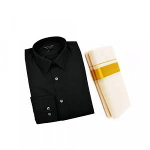 Black Cotton Shirt & Golden or Silver Kasavu Mund