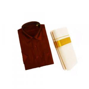 Brown Cotton Shirt & Golden or Silver Kasavu Mund