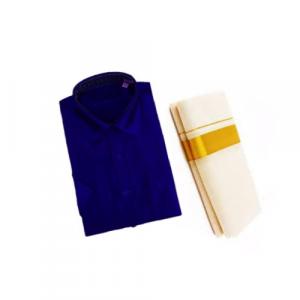 Dark Blue Cotton Shirt & Golden or Silver Kasavu Mund