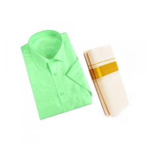 Light Green Cotton Shirt & Golden or Silver Kasavu Mund