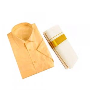 Orange Cotton Shirt & Golden or Silver Kasavu Mund