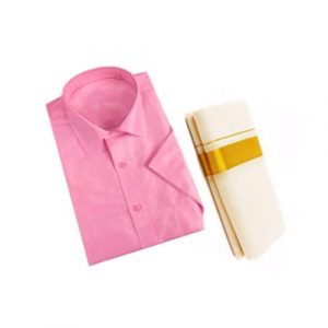 Pink Cotton Shirt & Golden or Silver Kasavu Mund