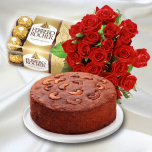 2Kg Special Plum Cake, Ferrero Rocher and Roses