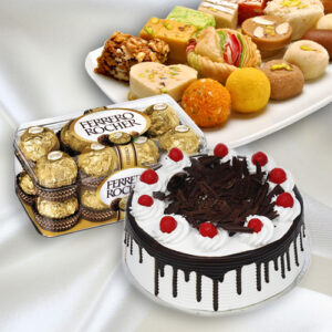 2 Kg Black Forest, 1 Kg Indian Sweets & Ferrero Rocher(24Pack)