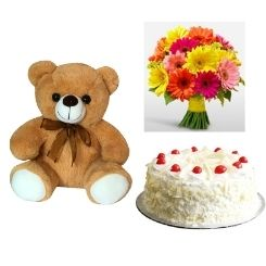 1KG White Forest Cake , Teddy bear and 10 Gerbera Bouquet