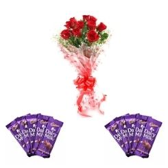 10 Red Rose Flower Bouquet with 10 Diary Milk